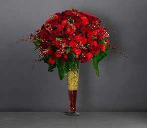 Aflame-Red,Carnation,Mixed Flower,Orchid,Rose,Arrangement