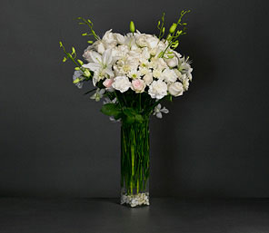 Ritz-White,Carnation,Lily,Rose,Arrangement