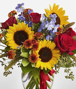 Elements of Elegance-Mixed,Orange,Red,Yellow,Chrysanthemum,Mixed Flower,Rose,SunFlower,Arrangement