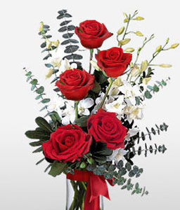 Jeweled Crown-Red,White,Orchid,Rose,Arrangement