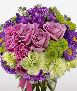 Gembellishment-Green,Lavender,Mixed,Pink,Purple,Rose,Mixed Flower,Iris,Chrysanthemum,Carnation,Arrangement
