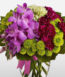 Tete A Tete-Green,Lavender,Mixed,Pink,Purple,Carnation,Chrysanthemum,Mixed Flower,Orchid,Arrangement