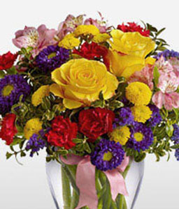 Felicity-Mixed,Pink,Purple,Red,Yellow,Alstroemeria,Carnation,Chrysanthemum,Mixed Flower,Rose,Arrangement