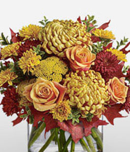 Colors Of Dusk-Mixed,Orange,Red,Chrysanthemum,Mixed Flower,Rose,Arrangement
