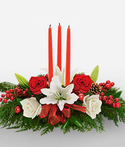 Classic Christmas Centerpiece-Green,Red,White,Candle,Rose,Lily,Centerpiece,Arrangement