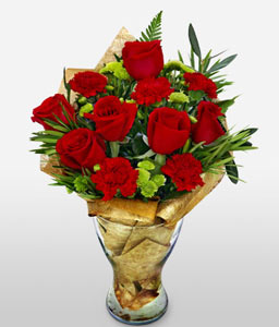Serene Gleam-Green,Red,White,Carnation,Rose,Arrangement