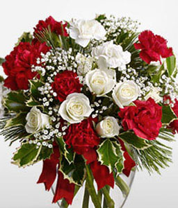 Beauty In Bloom-Red,White,Carnation,Rose,Arrangement