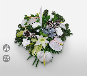 Green Christmas-White,Anthuriums,Lily,Arrangement