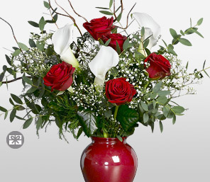 Accent-Red,White,Lily,Rose,Arrangement
