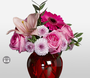Awestruck-Pink,Chrysanthemum,Daisy,Gerbera,Lily,Mixed Flower,Rose,Arrangement