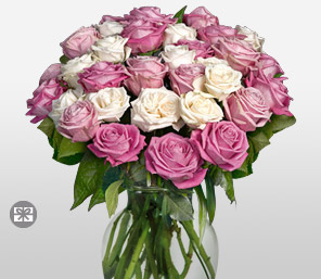 Rosy Hues-Pink,White,Rose,Arrangement