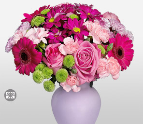 Pinkastic-Green,Mixed,Pink,Carnation,Mixed Flower,Rose,Arrangement