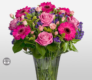 Affinity-Green,Mixed,Pink,Purple,Daisy,Gerbera,Mixed Flower,Rose,Arrangement