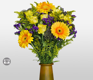 Herald-Purple,Yellow,Daisy,Gerbera,Rose,Arrangement