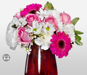 Blushstrokes-Pink,White,Carnation,Daisy,Gerbera,Mixed Flower,Rose,Arrangement