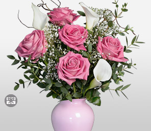 Millions de Sentiments-Pink,White,Lily,Rose,Arrangement