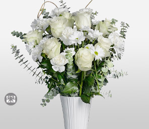 Jetsetters Zen-White,Carnation,Chrysanthemum,Mixed Flower,Rose,Arrangement
