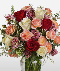 Classic Romance-Peach,Red,White,Rose,Arrangement