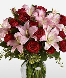 Love And Romance-Pink,Red,Lily,Mixed Flower,Rose,Bouquet