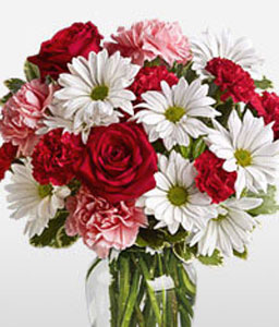 Enchanting Arrangement-Peach,Red,White,Carnation,Chrysanthemum,Rose,Arrangement