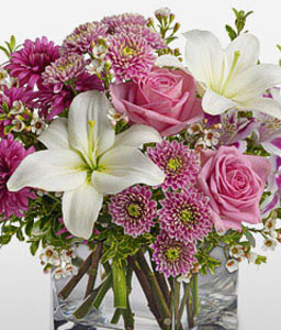 Sovereign Resplendence-Pink,White,Alstroemeria,Chrysanthemum,Lily,Mixed Flower,Rose,Arrangement