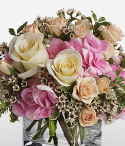 Aglow-Peach,Pink,Hydrangea,Rose,Arrangement