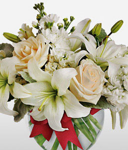 Forever Yours-White,Lily,Rose,Arrangement