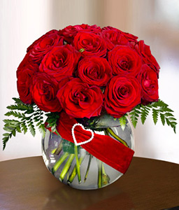 One Dozen Red Roses with Free Vase
