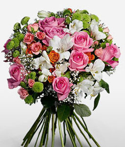 Berry Floss-Green,Mixed,Orange,Pink,White,Alstroemeria,Mixed Flower,Rose,Bouquet
