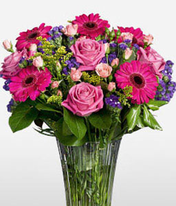 Mixed Pink Flowers-Lavender,Pink,Gerbera,Mixed Flower,Rose,Arrangement