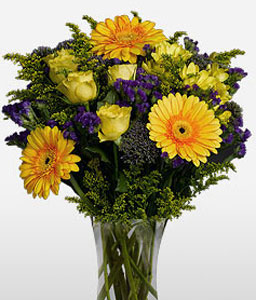 Sunny Blooms-Mixed,Purple,Yellow,Rose,Gerbera,Arrangement