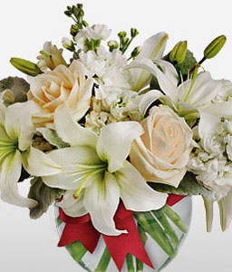 Beau Nuage-White,Lily,Mixed Flower,Rose,Arrangement