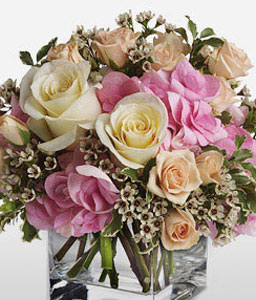 Aglow-Mixed,Peach,Pink,White,Rose,Arrangement