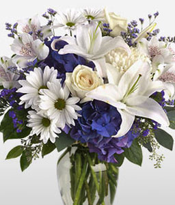 Posh-Blue,White,Alstroemeria,Chrysanthemum,Lily,Mixed Flower,Rose,Arrangement
