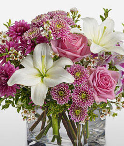 Sovereign Resplendence-Pink,White,Chrysanthemum,Lily,Mixed Flower,Rose,Arrangement