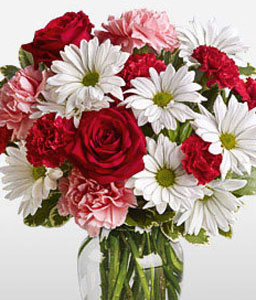 Charming Mixed Flowers-Mixed,Pink,Red,White,Carnation,Daisy,Gerbera,Mixed Flower,Rose,Arrangement