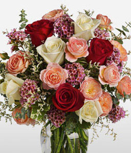 Blush Roses-Mixed,Peach,Red,White,Rose,Arrangement