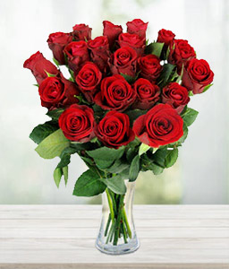 Bouquet of Dozen Red Roses-Red,Rose,Bouquet