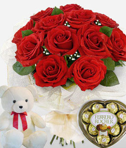 Trio Amor-Green,Red,Chocolate,Rose,Teddy,Bouquet