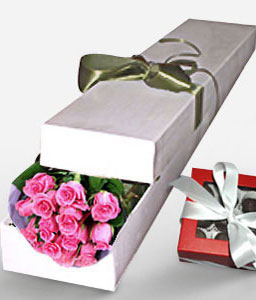 Blushing Pink Roses-Pink,Chocolate,Rose,Bouquet,Hamper