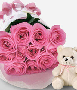 Cuddly Fantasy - Roses + Teddy-Pink,Rose,Teddy,Bouquet