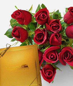 Expressions Of Elegance-Red,Chocolate,Rose,Bouquet