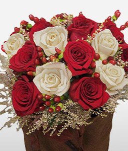 Charming Affluence-Red,White,Rose,Arrangement,Basket