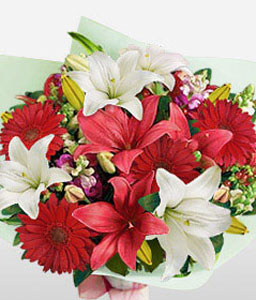 Floral Choral-Red,White,Daisy,Gerbera,Lily,Bouquet