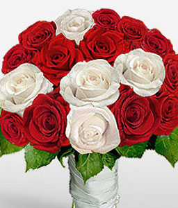 Elegant Expressions-Red,White,Rose,Bouquet