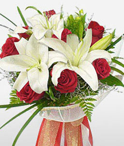 Classic Elegance-Green,Red,White,Lily,Rose,Bouquet