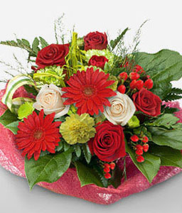 Odic-Green,Mixed,Red,White,Carnation,Daisy,Gerbera,Mixed Flower,Rose,Bouquet