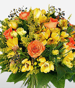 Bright Beauty-Orange,Yellow,Daisy,Gerbera,Rose,Bouquet