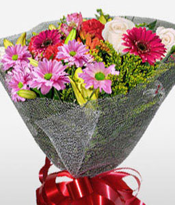 Garden Beauty-Lavender,Mixed,Pink,Purple,Chrysanthemum,Gerbera,Mixed Flower,Rose,Bouquet