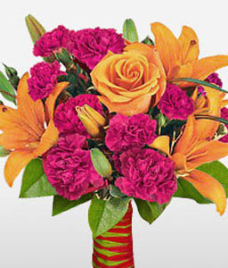 Bello Blooms-Orange,Pink,Carnation,Lily,Rose,Bouquet